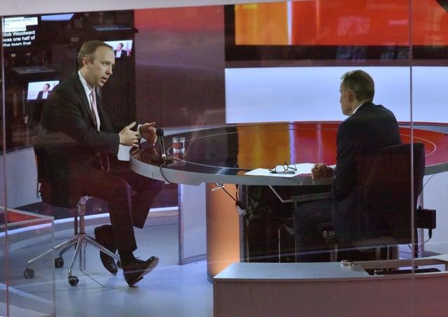 UK Health Secretary Matt Hancock being interviewed by host Andrew Marr
