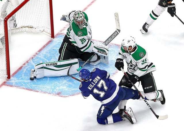 Dallas goaltender Anton Khudobin saves smartly from Alex Killorn during Game One of his team's Stanley Cup final series against Tampa Bay Lightning. Picture: Bruce Bennett/Getty Images