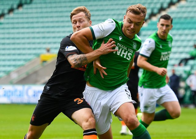 Ryan Porteous battles with Rangers' Scott Arfield during Sunday's 2-2 draw at Easter Road. Picture: SNS.