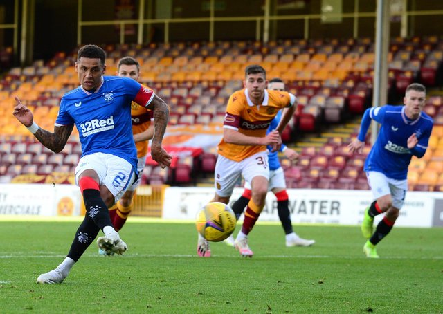 James Tavernier scores Rangers' third goal from the penalty spot. Picture: Getty.