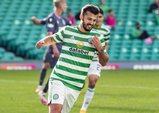Celtic's Albian Ajeti celebrates his goal against Hibernian. Picture: SNS.