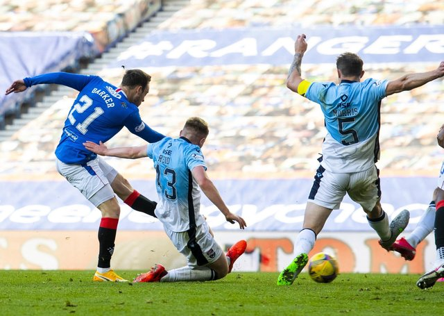 Brandon Barker scores to make it 2-0 to Rangers against Ross County at Ibrox. Picture: Alan Harvey/SNS Group