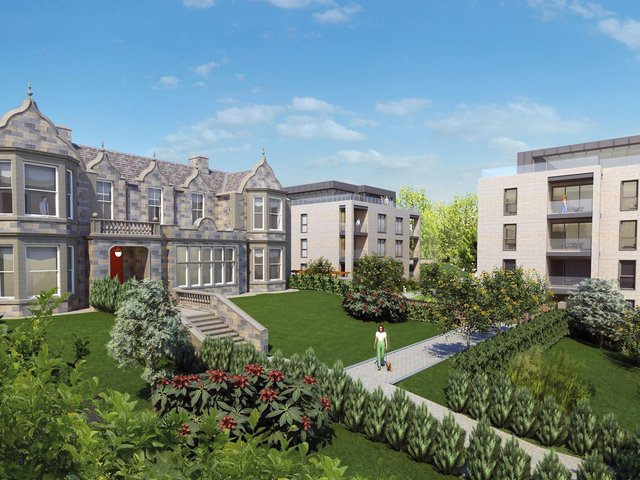 Exteriors and interiors at AMA Homes' Torwood House development in Corstorphine – designed with downsizers in mind