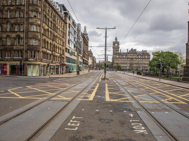 An empty Princes Street pictured during lockdown. Picture: TSPL
