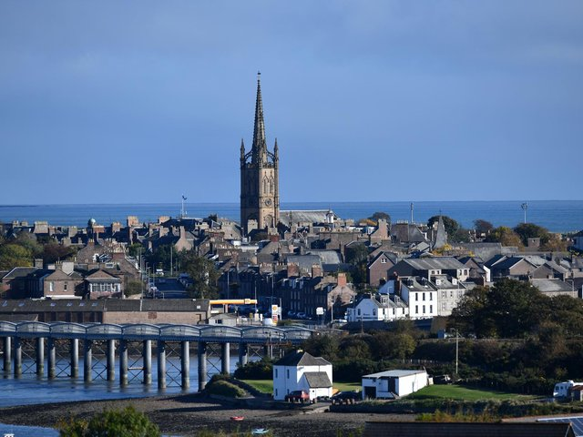 The steeple of Old and St Andrew's Church towers over Montrose's High Street.  Picture: Michael Gillen