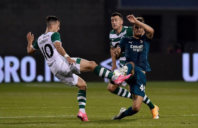 Matteo Gabbia of AC Milan battles for possession with Aaron McEneff of Shamrock Rovers during the UEFA Europa League second qualifying round matchin Tallaght, Ireland. (Photo by Charles McQuillan/Getty Images)