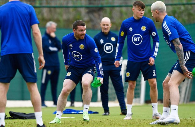 John Fleck trains with the Scotland squad at La Finca Resort in Alicante, Spain, ahead of his positive Covid tet (Photo by Jose Breton / SNS Group)