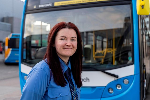 """""""Deep down, the guys here know we're just as good on the road as they are"""" - driver Nikki Shewan. Picture: Stagecoach Bluebird/Newsline"""