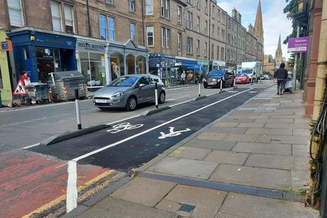 A new cycle lane created under the Spaces for People scheme in Edinburgh