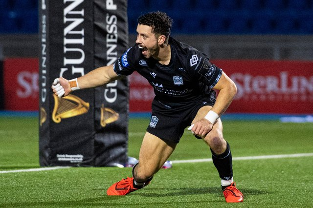 Glasgow's Sean Kennedy celebrates his try for Glasgow Warriors against Dragons. Picture: Ross MacDonald/SNS