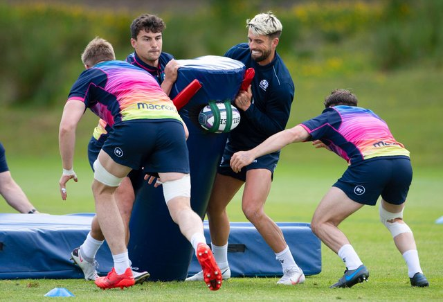Damien Hoyland and Adam Hastings at a Scotland training session at Oriam ahead of the A international against England. Picture: Paul Devlin/SNS