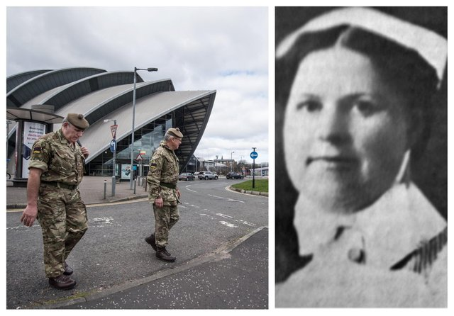 The army set up the new temporary hospital at Glasgow's SEC which has been named NHS Louisa Jordan after the Glasgow-born sister who served and died during World War One. PIC: John Devlin/Contributed.