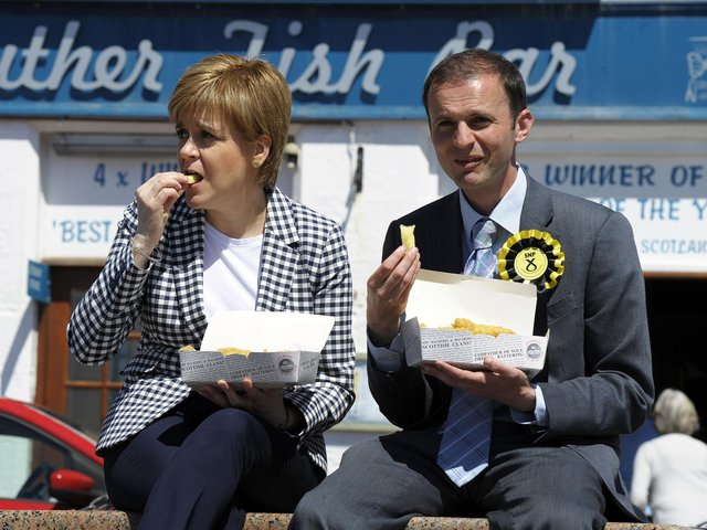 Stephen Gethins, pictured with his onetime SNP boss Nicola Sturgeon, in 20177 (Picture: Andy Buchanan/FP via Getty Images)