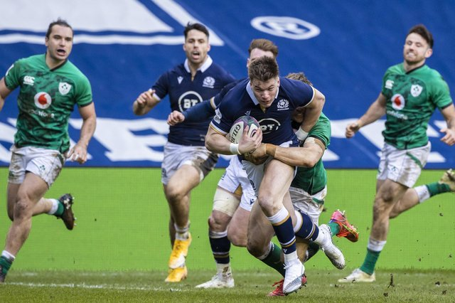 Huw Jones' try against Ireland was his first at international level for three years. Picture: Craig Williamson/SNS