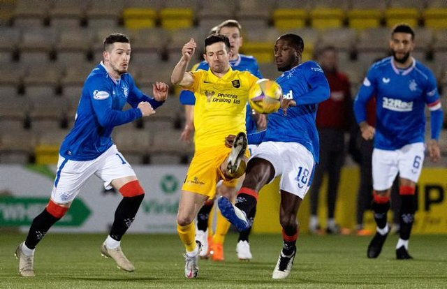 Livingston midfielder Jason Holt battles for possession with Ryan Kent (left) and Glen Kamara during Rangers' 1-0 win at the Tony Macaroni Arena on Wednesday. (Photo by Alan Harvey / SNS Group)