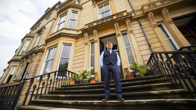 """Interior designer and gilder Hugh Berry was """"blown away"""" when his painstakingly restored Victorian apartment in Glasgow's West End was crowned Scotland's Home of the Year in 2020"""