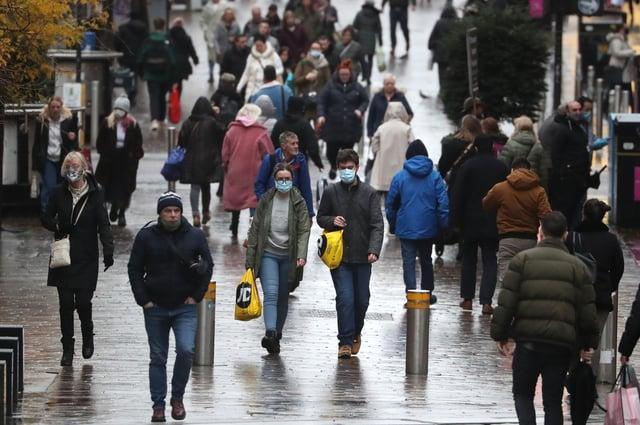Members of the public on Buchanan Street in Glasgow