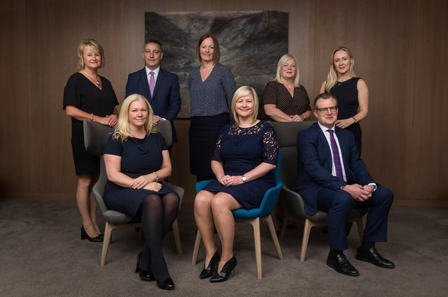 (Back Row)  Linda Pyle (Director of Brilliant Travel), Russell Adamson (Director of The Cruise Specialists), Julie Taylor (Operations Director), Wilma Taylor (HR Director), Karen Breen (Sales Director)  (Front Row)  Caroline Donaldson (Product & Commercial Director), Jacqueline Dobson (President of Barrhead Travel), Stuart Taylor (Finance Director)