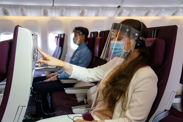 Qatar is one of the first airlines to require passengers to wear face shields.