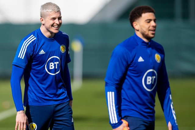 Che Adams (foreground) and Lyndon Dykes - could play up front together against Austria (Photo by Ross MacDonald / SNS Group)