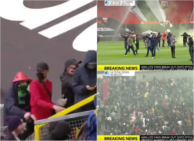 Man U fans stormed the pitch at Old Trafford ahead of today's match with Liverpool (pictures from Sky News)