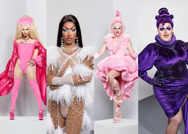 Bimini, Tayce, Lawrence and Ellie will battle it out to be crowned RuPaul's ultimate Queen of season 2 (Picture: BBC)
