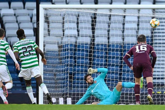 Celtic's Odsonne Edouard makes it 2-0 during the William Hill Scottish Cup Final between Celtic and Hearts at Hampden Park, on December 20, 2020, in Glasgow, Scotland. (Photo by Rob Casey / SNS Group)