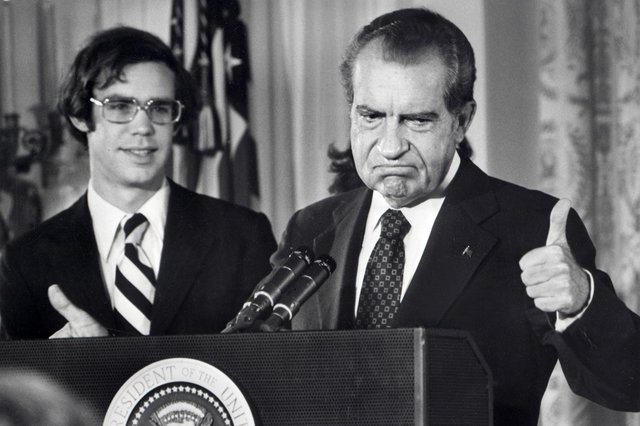 Richard Nixon (right), pictured bidding farewell to White House staff, has had a massive influence on how we live today, says Duffy. Picture: AFP FILES.