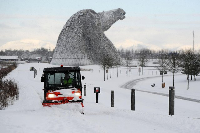 Snow clearance today near The Kelpies sculptures in Grangemouth. Picture Michael Gillen