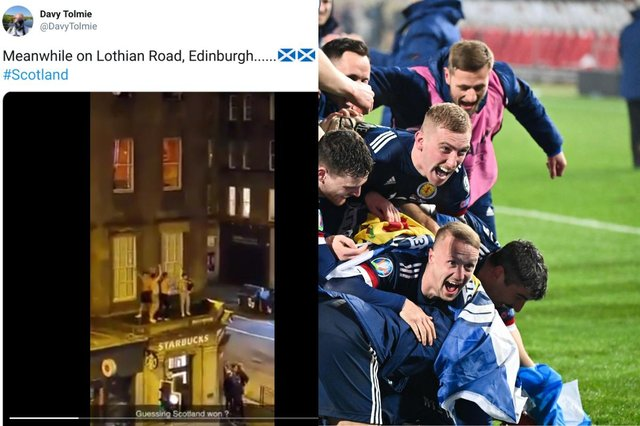 The jubilation begins for Scotland after the penalty shoot-out victory picture: Getty Images