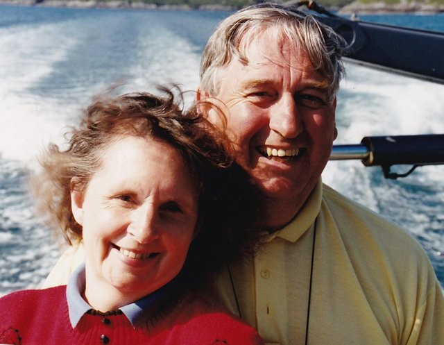 Jeremy and his wife Jen off the Isle of Lewis in 1995