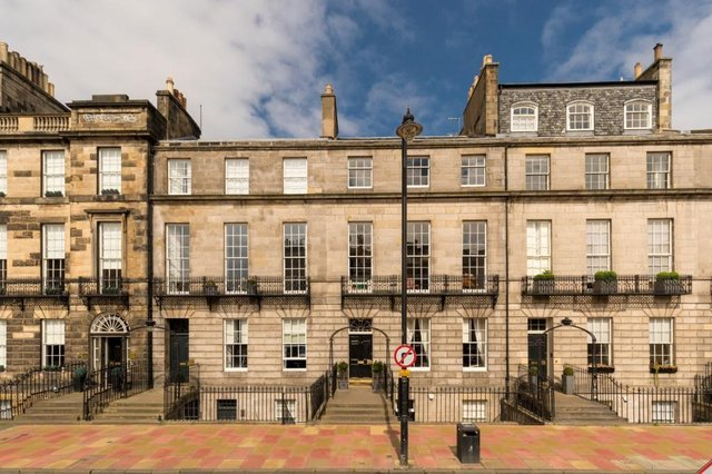 Edinburgh has seen the number of its street where the average home costs £1m or more increase more than 10-fold since 201 - this townhouse in the city's Melville street is currently for sale at offers over £2,650,000
