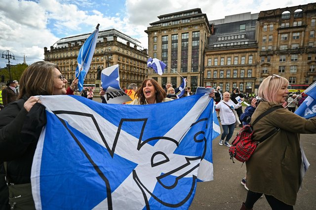 Scottish independence supporters gather in George Square for a rally organised by 'All Under One Banner' on May 1. Picture: Jeff J Mitchell/Getty Images