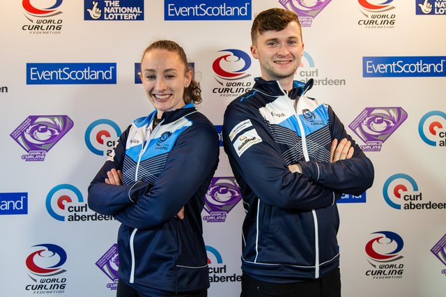 Jen Dodds and Bruce Mouat are representing at the World Mixed Doubles Curling Championships in Aberdeen. Picture: WCF/Celine Stucki