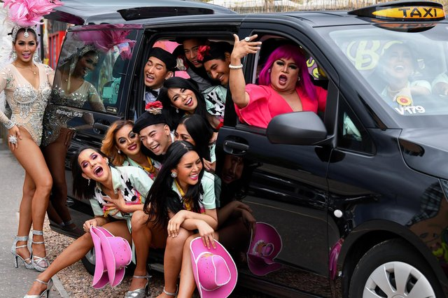 Don't expect the Ladyboys of Bangkok to squeeze into a taxi like this if they come to Fringe 2021 (Picture: Jeff J Mitchell/Getty)