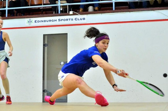 Georgia Adderley, right, in action against Emily Whitlock of Wales at the 2020 Edinburgh Sports Club Open. Picture: Steve Cubbins