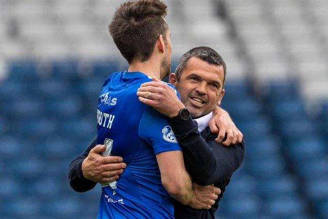 St Johnstone manager Callum Davidson celebrates with  Callum Booth following the club's Scottish Cup semi-final win over St Mirren. (Photo by Alan Harvey / SNS Group)