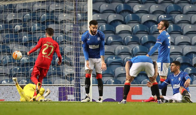 Connor Goldson reacts after Pizzi nets the equaliser.