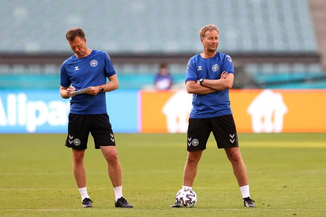 Denmark manager Kasper Hjulmand looks on next to Morten Wieghorst, his assistant, at a training session before the Euro 2020 quarter-final win over Czech Republic on Saturday (Photo by Naomi Baker/Getty Images)