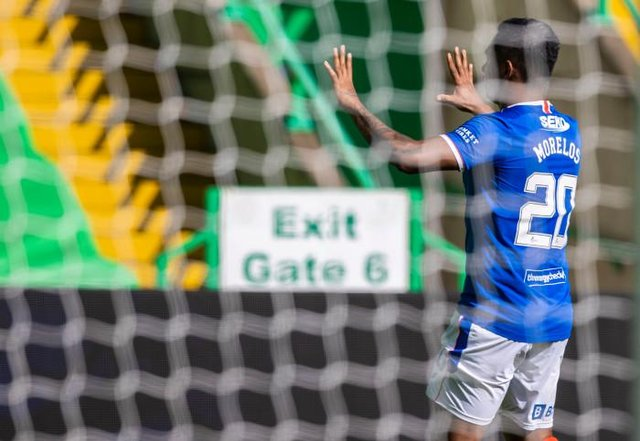 Rangers striker Alfredo Morelos celebrates his first ever goal against Celtic which secured a 1-1 draw for the new Premiership champions. (Photo by Craig Williamson / SNS Group)