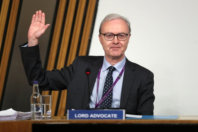 Lord Advocate James Wolffe gave evidence to a Scottish Parliament committee at Holyrood in Edinburgh, examining the handling of harassment allegations against former first minister Alex Salmond.