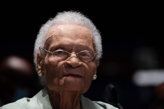 At 107, Viola Fletcher is the oldest living survivor of the 1921 Tulsa race massacre. Picture: Jim Watson/AFP/Getty
