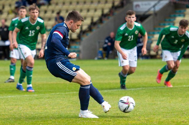 Glenn Middleton scores to make it 3-2 during a friendly match between Scotland and Northern Ireland Under-21s in Dumbarton.