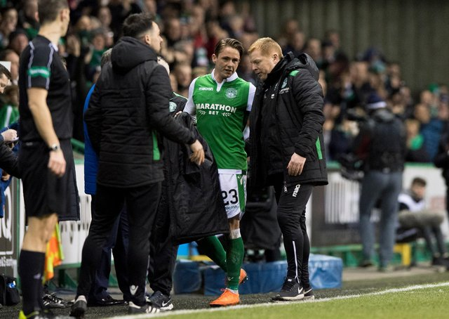 Neil Lennon and Scott Allan when at Hibs together in 2018. (Phot by Alan Harvey/SNS Group).
