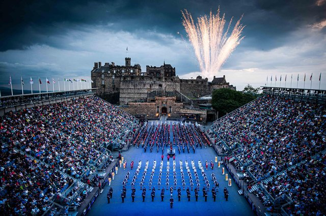 The Tattoo normally attracts an overall audience of 220,000 to Edinburgh Castle esplanade each August.