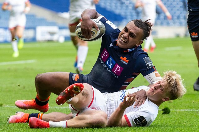 Edinburgh's Eroni Sau scores his side's fifth try during the narrow Rainbow Cup defeat by Munster at BT Murrayfield. Picture: Bruce White/SNS