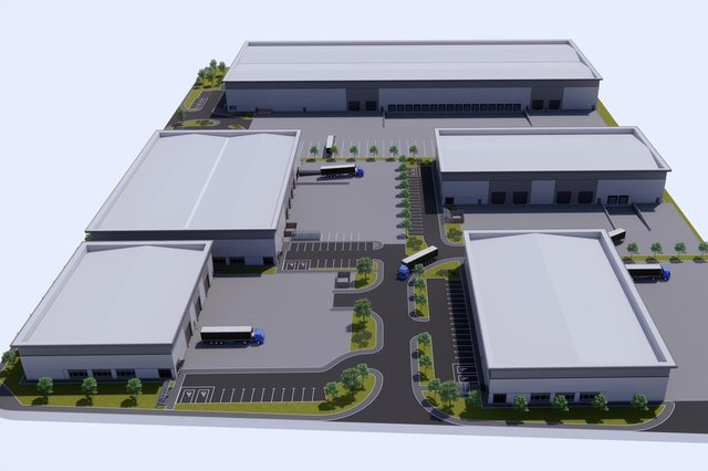 A computer generated image showing how the new Belgrave Logistics Park in Bellshill will look when completed.