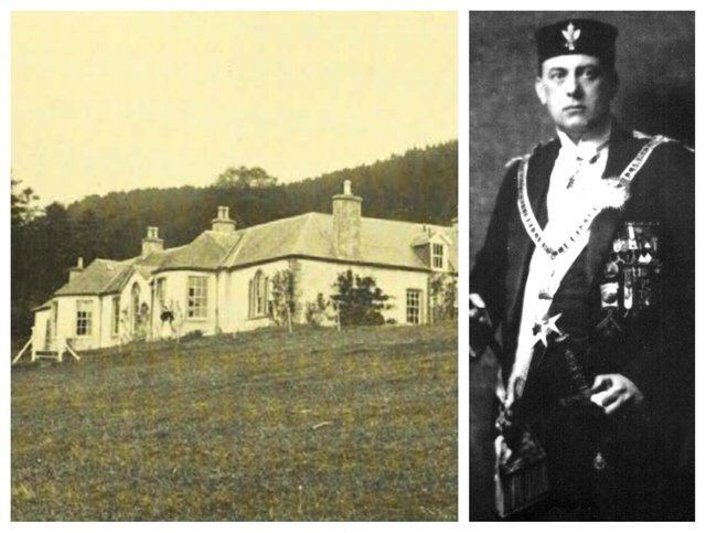 An archive picture of Boleskine House before the fire and Aleister Crowley, the occultist who formerly owned the property.