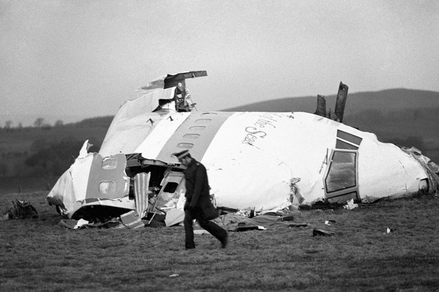 The wrecked nose section of the Pan-Am Boeing 747 in Lockerbie, near Dumfries.
