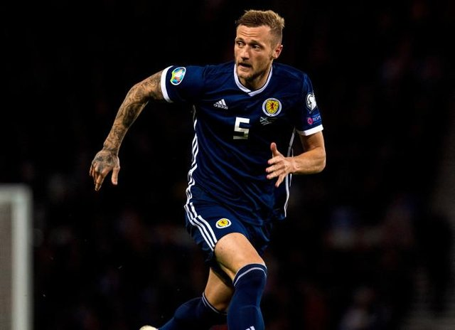 Liam Cooper in action for Scotland during the Euro 2020 qualifier between Scotland and Russia at Hampden. (Photo by Alan Harvey / SNS Group)